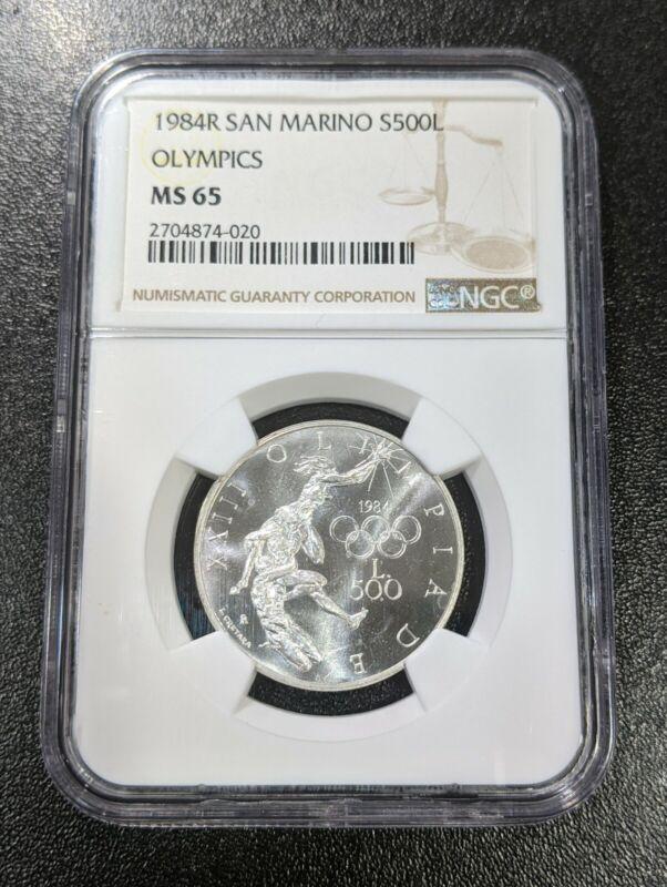 1984 MS65 San Marino Silver 500 Lire NGC Los Angeles LA Olympics KM 168 UNC