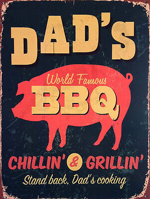 Dad's BBQ, Retro metal Sign/Plaque, Gift, Home, Kitchen, Garden