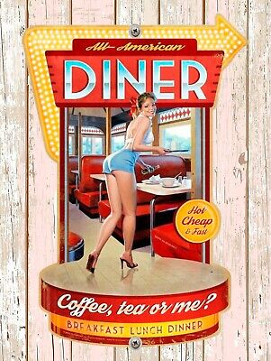 All American Diner, Retro replica vintage style metal sign Gift Garage