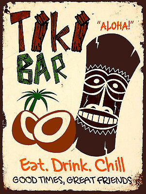 Tiki Bar Retro metal Aluminium Sign vintage / Pub / Bar/ Kitchen / Man Cave