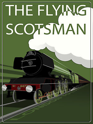 Flying Metal Sign (The Flying Scotsman, Retro metal wall sign/plaque / Train / Railway/ Gift )