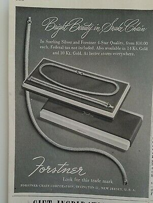1947 Forstner corporation snake chain necklace bracelet vintage jewelry ad
