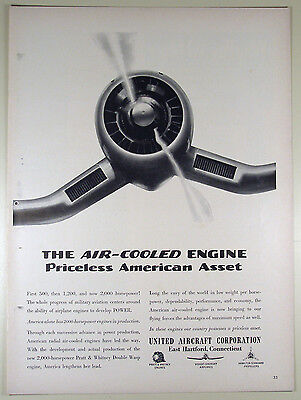 Vintage 1941 UNITED AIRCRAFT Lg Full-Page Magazine Print Ad: Air-Cooled Engine