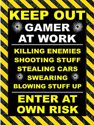 Keep Out Gamer At Work, Retro metal Aluminium Sign vintage / man cave