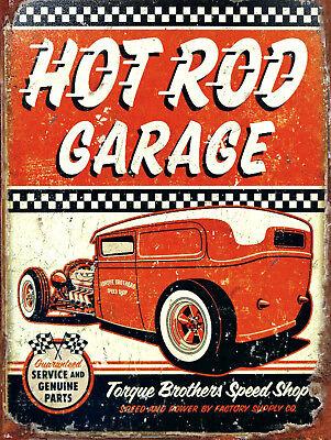 Hot Rod Garage (Hot Rod Garage, Retro metal Aluminium Sign vintage / man cave / Garage)