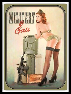 Military Girl Pin Up, retro vintage style metal sign/Plaque Gift