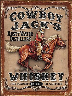 Cowboy Jacks Whiskey, Retro replica vintage style metal tin sign gift Pub