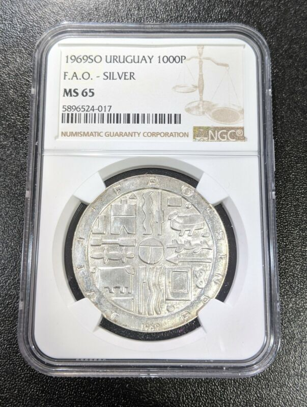 1969 SO MS65 Uruguay Silver 1000 Pesos FAO NGC KM 55 UNC only 2 graded higher!
