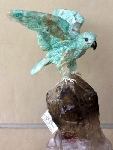 "Amzonite Falcon on Smoky  Quartz  9 ""  Peter Muller"