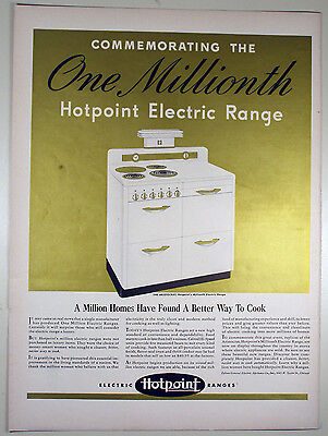 Vintage 1941 GENERAL ELECTRIC HOTPOINT RANGE Large Full Page Magazine Print Ad