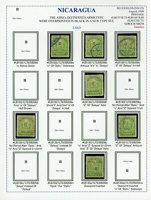 Nicaragua BLUEFIELDS Specialized on Album Page: LOT #1 LB133 Varieties INVERT $$
