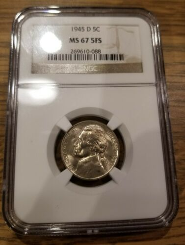 1945-D Jefferson Nickel NGC MS67 5FS Registry Quality--5 Full Steps--Frosty Rare - $274.99