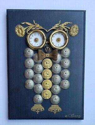 VINTAGE STEAMPUNK OWL WALL PLAQUE BY V. RASINES