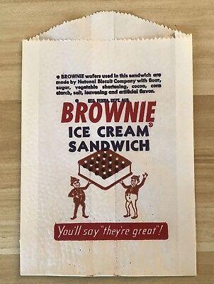 EXC ORIG VINTAGE BROWNIE ICE CREAM SANDWICH UNUSED WRAPPER 1930s-50s. MINT COND! Brownie Ice Cream Sandwich