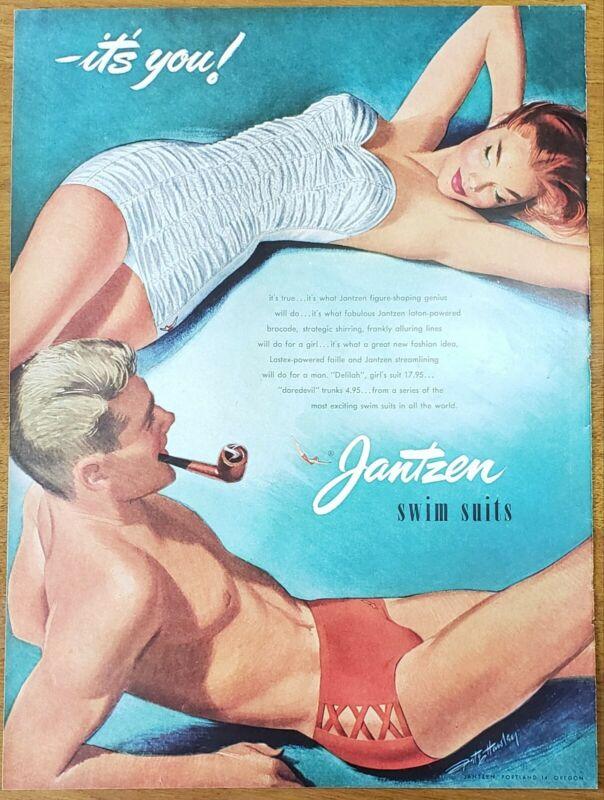 "1950 Jantzen Mens and Womens Swimsuits Vintage Print Mens ""Daredevil"" Trunks"