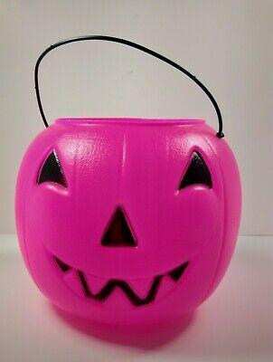 "Vintage General Foam Pink Jack-O-Lantern Trick or Treat Candy Pail/Bucket 8"" USA"