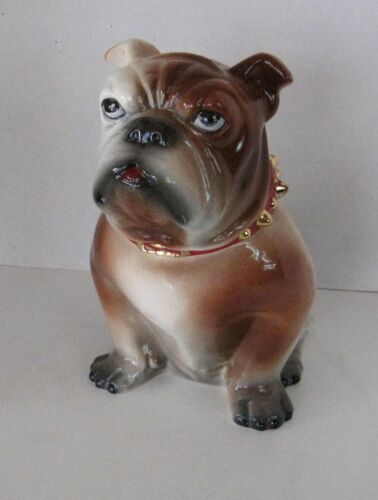 Large Ceramic Bulldog Cookie Jar Airbrush