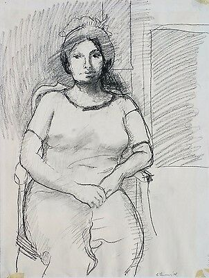 """Michael Steiner, """"Woman Series #7"""", Charcoal, 25""""h x 18""""w image"""