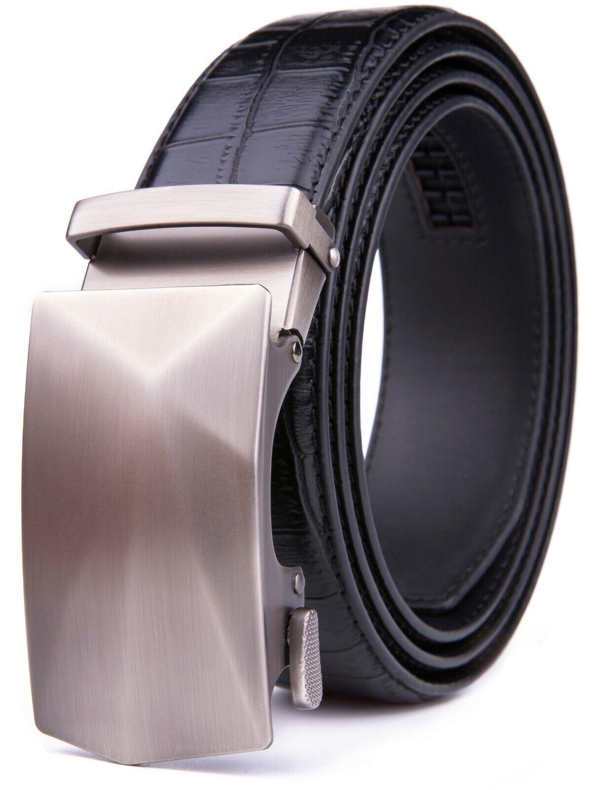 Men's Ratchet  Belts with Automatic Buckle Leather Dress Belt Adjustable Belts
