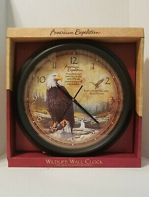 American Expedition Wildlife Bald Eagle 16 inch Wall Clock Bald Eagle Wall Clock