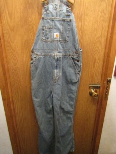 """YOUTH CARHARTT MASTER CLOTH SANFORIZED BLUE JEAN OVERALLS SIZE 10 INSEAM 26"""""""