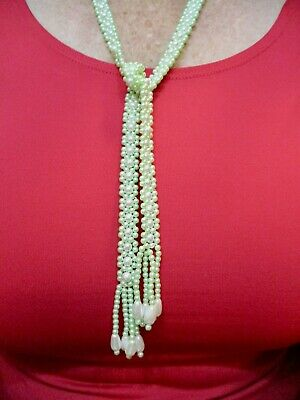 1950s Jewelry Styles and History Vintage 1950's Green & White Flat Faux Pearl w/Fringe Lariat Necklace 35
