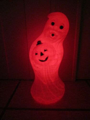 Vintage Sheet Ghost w/ Jack-O-Lantern Pumpkin Lighted Halloween Blow Mold Decor