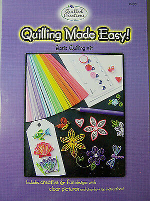 Quilled Creations Quilling Made Easy Kit Paper Strips Sizer Ruler Slotted -