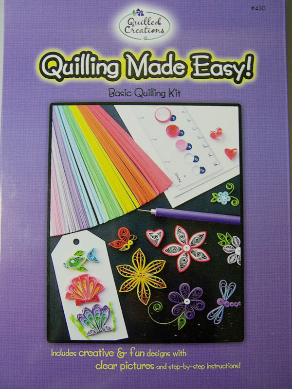 Quilled Creations Quilling Made Easy Kit Paper Strips Sizer Ruler Slotted Tool