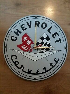 "Vintage Chevrolet Corvette Porcelain Clock Sign 11.25"" Chevy Enamel Gas Oil"