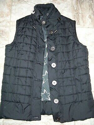 VANITY LADIES VEST BLACK STAR LINING TERRIFIC STYLE M EUC PUFFY QUILTED