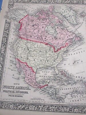 1865 Colored Map - NORTH AMERICA showing it's POLITICAL DIVISIONS