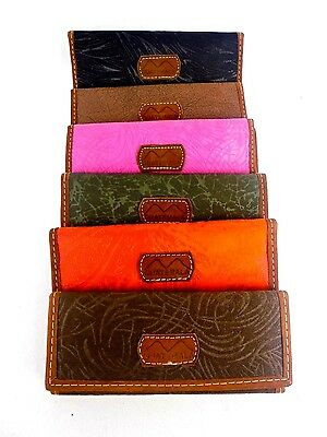 GUATEMALA TRIFOLD WOMEN WALLET FABRIC/LEATHER HANDMADE GUATEMALAN ARTISANS NEW