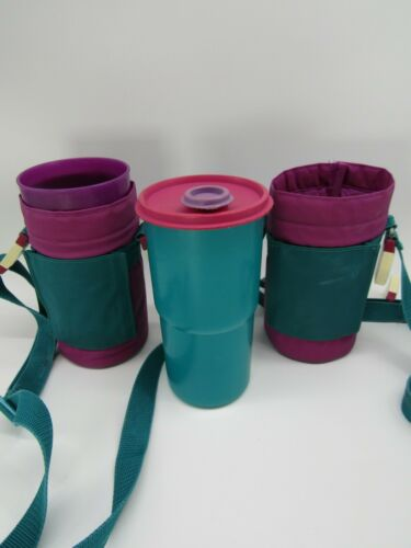 Vintage Tupperware 30 oz. Thirstquake 2 Tumblers 2414A w/Insulated Cases