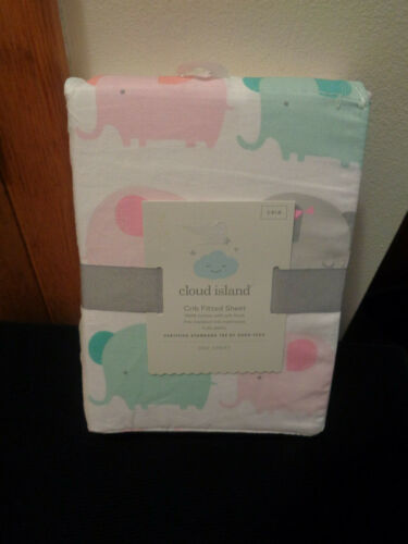 Cloud Island NWT Fitted Crib Sheet 100% Cotton Multi Color Elephants