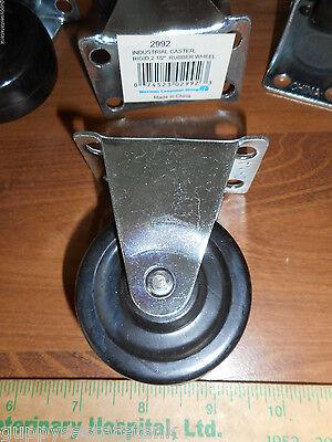 Waxman 2-12 Industrial Caster Rigid Rubber Wheel 2992 Plate 2-34 X 1-34