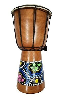 "7"" Tall Djembe Tribal Drum Handpainted with Aboriginal African Dotted Design"
