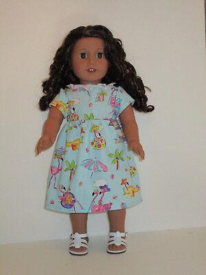 "Flamingo Summer Fun Dress for 18"" Doll American Girl Doll Clothes"