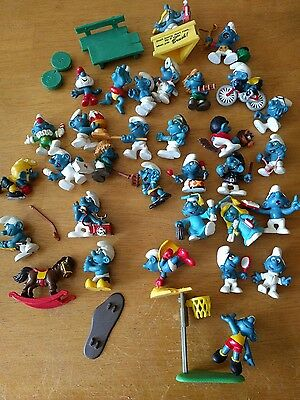 Vintage Lot Of 31 Smurf Figures Schleich Peyo (M) with accessories