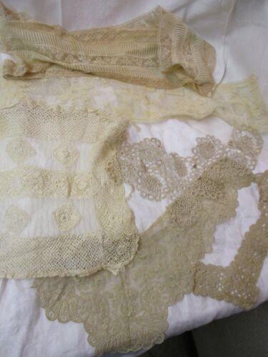 Antique 6 pcs ecru Lace Crochet Dress Trim pieces Passamenterie