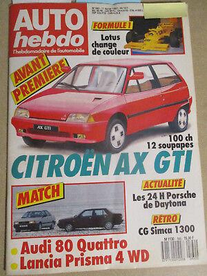 AUTO HEBDO: n°560: 11/02/1987: CITROEN AX GTI - CG SIMCA 1300 - AUDI 80 - PRISMA