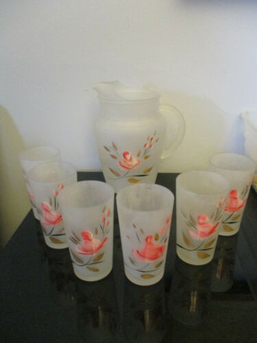 Vintage Hand Painted Roses Frosted Water Glass Pitcher Six Glasses Tumblers Set!