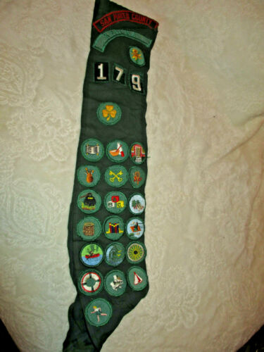 Vintage~Girl Scouts of America~Sash/Banner With Sewed on Patches~1960