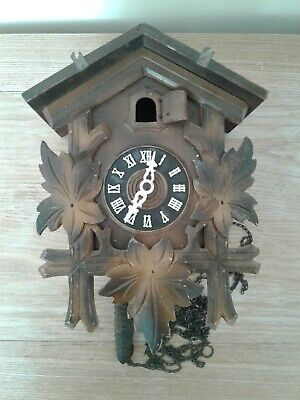 VINTAGE GERMAN BLACK FOREST CUCKOO CLOCK WITH CHAINS AND WEIGHT FOR TLC SPARES