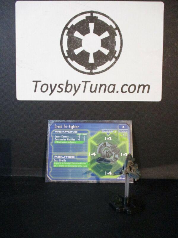 Star Wars Miniatures Starship Battles Droid Tri-Fighter SSB w/ Card mini RPG