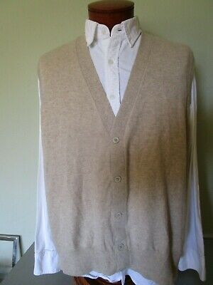 DORIANI Made in Italy Beige Butter Soft Cashmere Cardigan Sweater Vest Size 56