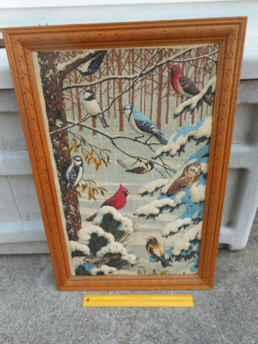 Wood Framed TRAPUNTO Winter Birds Picture Colored Linen 3D CARDINAL SNOW OWL