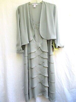 ROAMAN'S..2 PIECE..TIERED RUFFLES..STEEL BLUE..DRESS..w MATCHING - Ruffle Tiered Jacket Dress