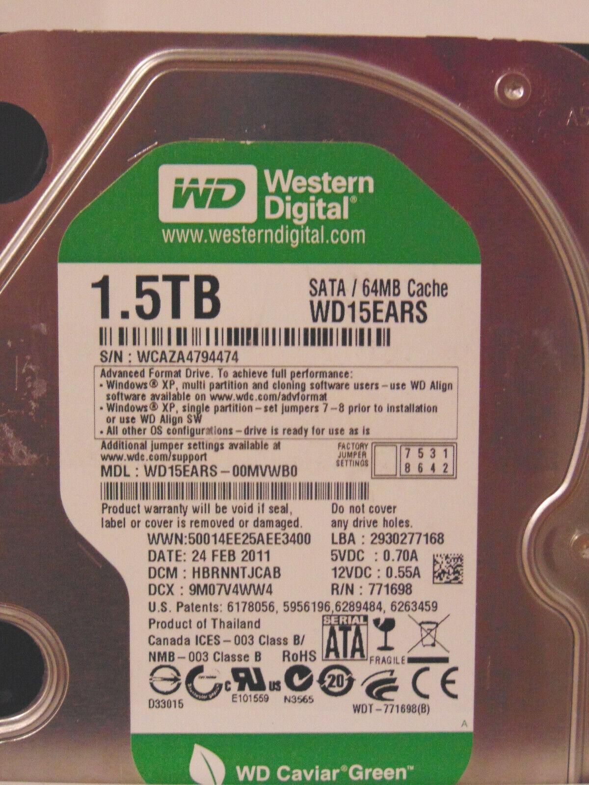 Western Digital 1,5 TB Festplatte Caviar Green
