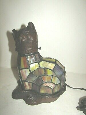 Stained Glass CAT table night light - brass and glass